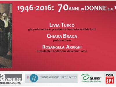 """""""70 anni di donne che votano"""" alla biblioteca comunale di Como"""